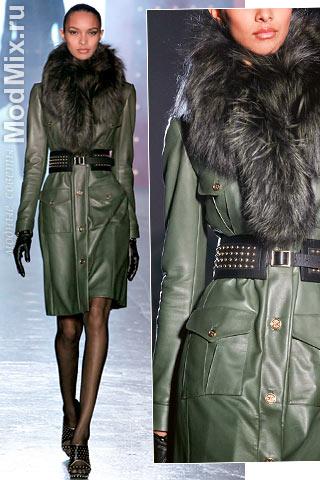 Пальто кожаное с карманами из модной коллекции Jason Wu