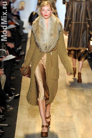 Вязаное пальто из модной коллекции Michael Kors