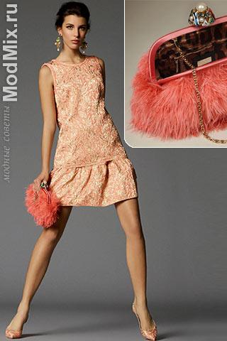 Коралловое вечернее платье и сумка из коллекции Dolce & Gabbana