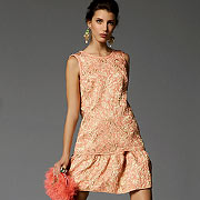 Коралловое вечернее платье и сумка из модной коллекции Dolce & Gabbana