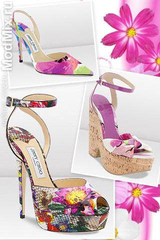 Модные босоножки в цветочек