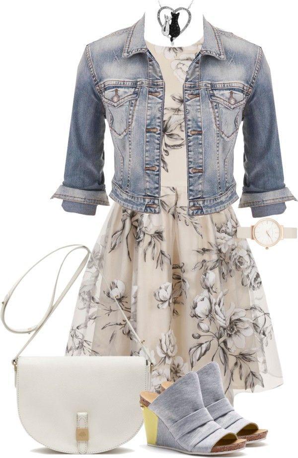 Платье в цветочек с джинсовой курткой