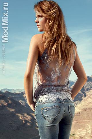 С чем носить джинсы? С кружевным топом!