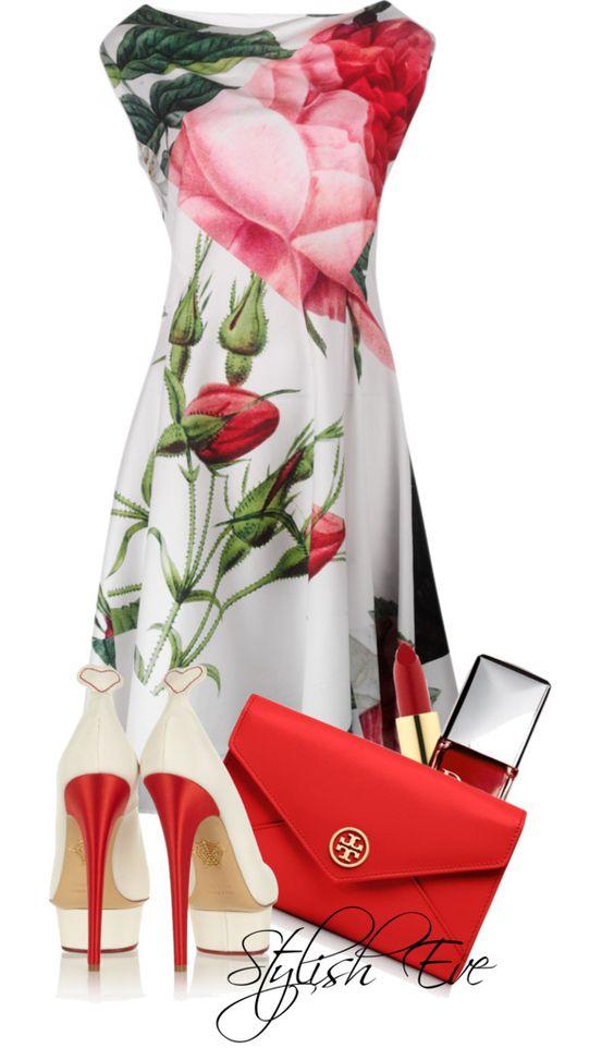 Платье в цветочек и красная сумка