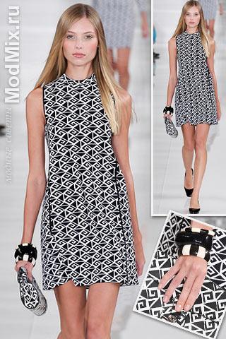 Платье с черно-белым геометрическим принтом