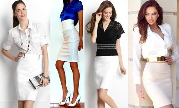 С чем носить белую юбку завышенной талией