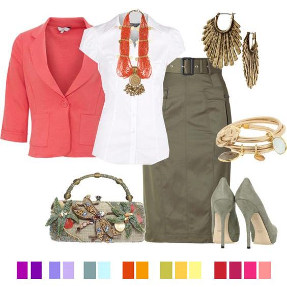 Удачные сочетания, с чем носить цвет хаки