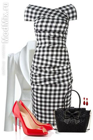 Модное сочетание с красными туфлями