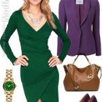 На фото: с чем носить зеленое платье