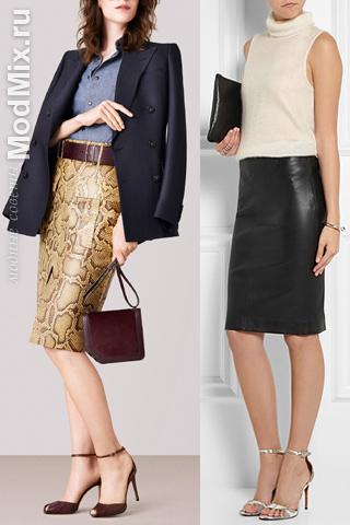 Кожаные юбки из коллекций Bally и Joseph