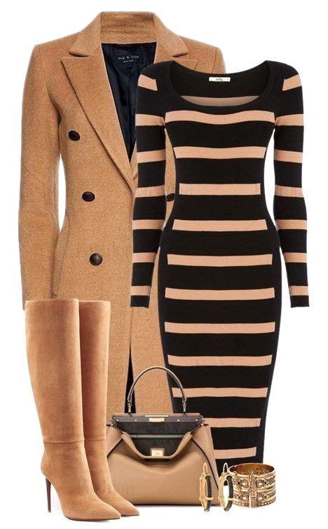 Замшевые сапоги с платьем и пальто