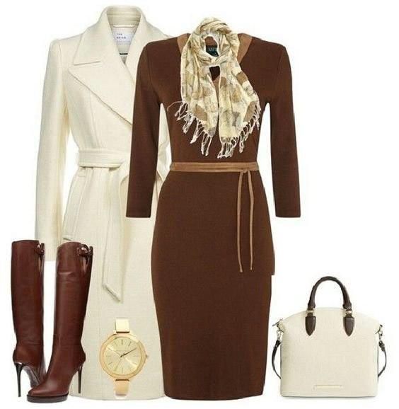 Идея, с чем красиво носить коричневые сапоги