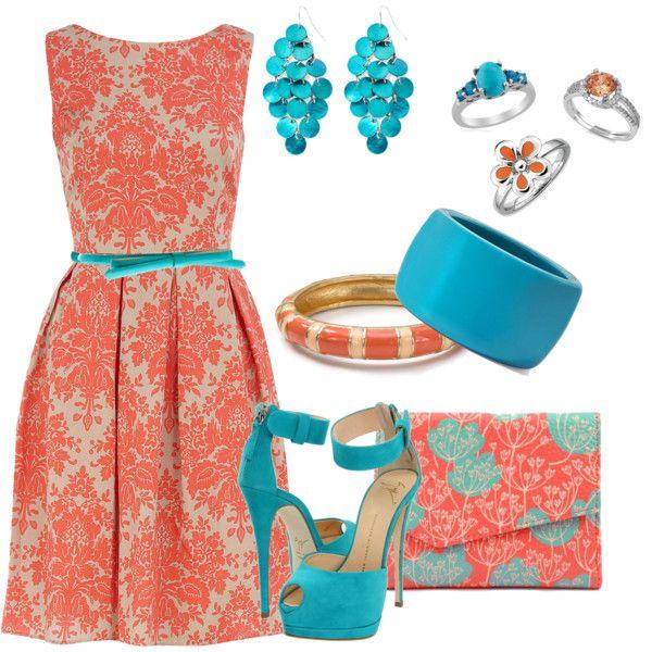 Бирюзовый цвет с коралловым